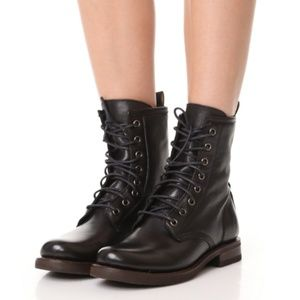 New Frye Veronica Black Combat Lace up Boots 6